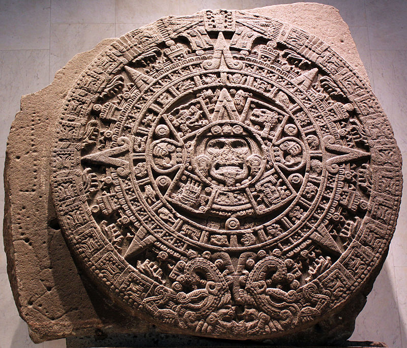 1479 Stein der fünften Sonne, sog. Aztekenkalender, Ollin Tonatiuh anagoria.JPG
