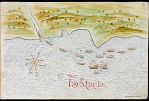 History of Saint Lucia - Spanish ships and Carib boats in Saint Lucia, early 17th century.