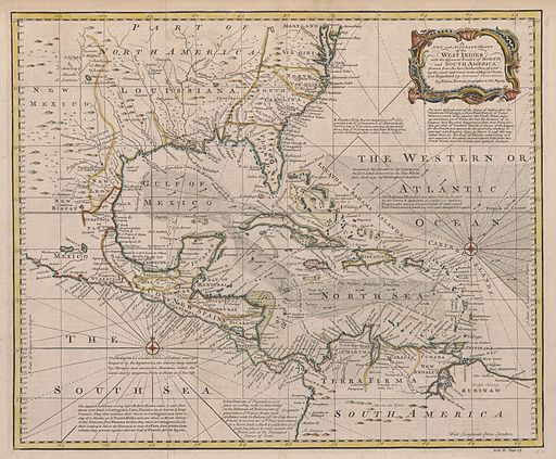 1720 Map of the West Indies with the Adjacent Coasts of North and South America (Bowen)