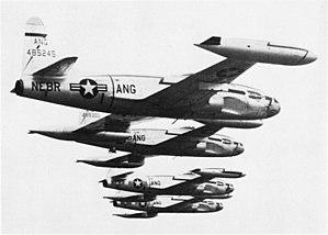 Nebraska Air National Guard - Nebraska F-80A Shooting Stars in formation, 1948.