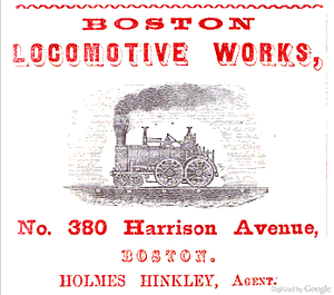 Hinkley Locomotive Works - An 1853 advertisement for Boston Locomotive Works