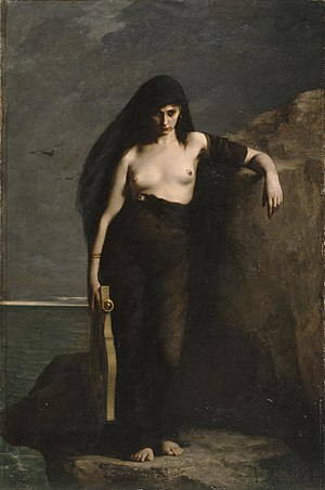 Sappho - Sappho (1877) by Charles Mengin (1853–1933). One tradition claims that Sappho committed suicide by jumping off of the Leucadian cliff.