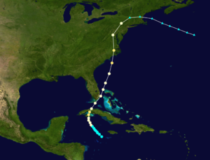Gale of 1878 - Image: 1878 Atlantic hurricane track