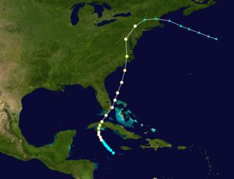Gale of 1878 - Image: 1878 Atlantic hurricane track