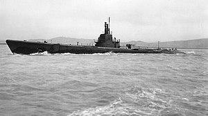 USS Saury (SS-189) - Image: 19 N 67722 USS Saury underway off the Mare Island Navy Yard