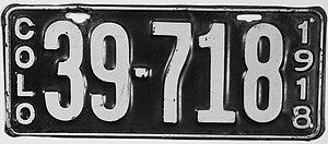 Vehicle registration plates of Colorado - Image: 1918 Colorado license plate