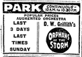 1922 Park theatre BostonGlobe 28April.png