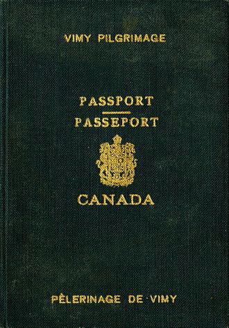 Canadian passport - Image: 1936 Vimy pilgrimage passport