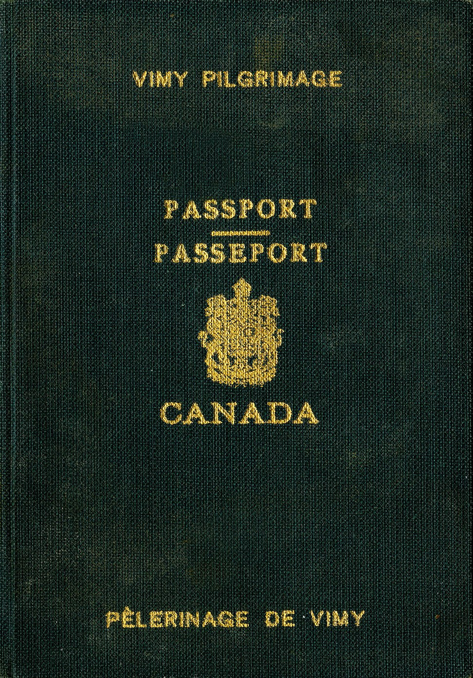 1936 Vimy pilgrimage passport