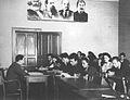 1951 Universitatea Victor Babeş, Cluj. Ora de materialism dialectic cu prof. Pavel Apostol.JPG