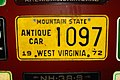 1972 West Virginia license plate 1097 Antique Car.jpg