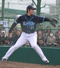 20120415 Kishou Kagami, pitcher of the Yokohama DeNA BayStars, at Lotte Urawa Stadium.JPG