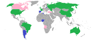 Basketball at the 2012 Summer Olympics - Competing countries in the Olympic basketball championship: green for both men's and women's tournaments, blue for the men's tournament and pink for the women's tournament.