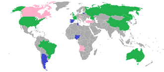 Competing countries in the Olympic basketball championship: green for both men's and women's tournaments, blue for the men's tournament and pink for the women's tournament. 2012 Summer Olympics basketball competing countries.png