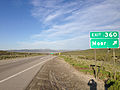 2014-06-10 18 46 25 Sign for Exit 360 along eastbound Interstate 80 and southbound Alternate U.S. Route 93 in Moor, Nevada.JPG