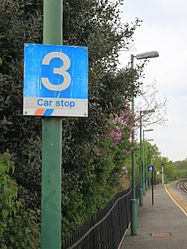 2015 at Romsey station - Network SouthEast three-car stop sign.JPG