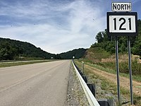 2017-07-21 15 29 44 View north along West Virginia State Route 121 (Coalfields Expressway) at Slab Fork Road (Raleigh County Route 34) in Slab Fork, Raleigh County, West Virginia.jpg