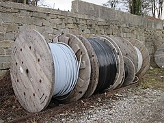 2018-02-13 (620) Cable drums at Bahnhof Mauthausen.jpg