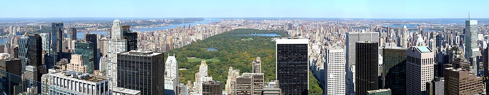 Panoramic view of Central Park from Rockefeller Center