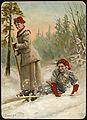 2 kvinner på ski, ca 1900 (11349560465).jpg