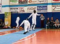 2nd Leonidas Pirgos Fencing Tournament. The fencer Dimitrios Makris attempts to score a foot touch.jpg