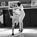 2nd Leonidas Pirgos Fencing Tournament. The fencer Stelios Foustanakis has just scored a touch with a flèche.jpg