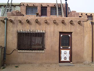 Acoma Pueblo - A house with a decorated doorway