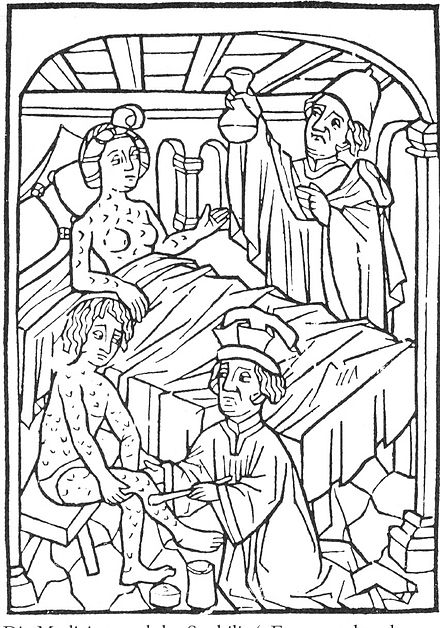 An early medical illustration of people with syphilis, Vienna, 1498 400Behandlung der Syphilis.jpg