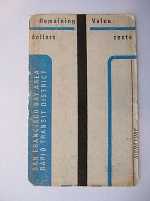 History of Bay Area Rapid Transit - Back of an early magnetic striped encoded paper ticket.