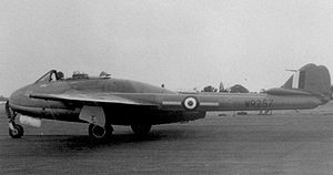 No. 613 Squadron RAF - No.613 Squadron Vampire FB.9 WR257 'A', built by Fairey Aviation at Ringway, was flown by the unit's C/O S.Ldr Jack Wales between June 1954 and December 1956