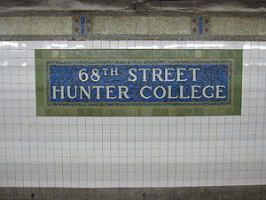 68th Street–Hunter College (IRT Lexington Avenue Line) - Name mosaic
