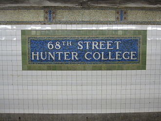 68th Street–Hunter College (IRT Lexington Avenue Line) - Name mosaic