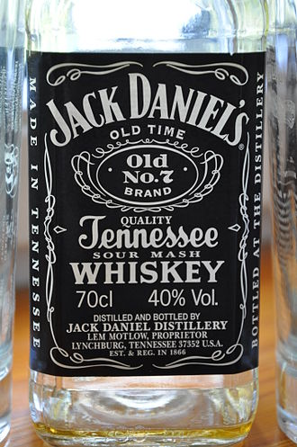 Sour mash - An empty Jack Daniel's Old No. 7 Sour Mash Tennessee Whiskey bottle