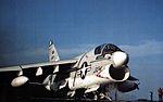 A-7E of VA-83 on cat of USS Forrestal (CV-59) 1981.jpg