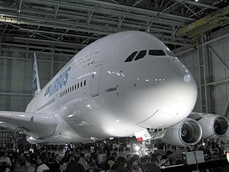 "Airbus A380 - The first completed A380 at the ""A380 Reveal"" event in Toulouse, France, 18 January 2005"