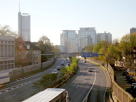 Ruhrschnellweg facing towards the central business district of Essen