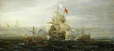 A French Ship and Barbary Pirates by Aert Anthonisz, c. 1615 A French Ship and Barbary Pirates (c 1615) by Aert Anthoniszoon.jpg