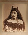A Maori girl, Titia Wikum (?), poses against a plain background. She has shoulder length hair decorated with feathers and (5d849a47-fbeb-4fdd-b3e4-9aee7564ac9d).JPG