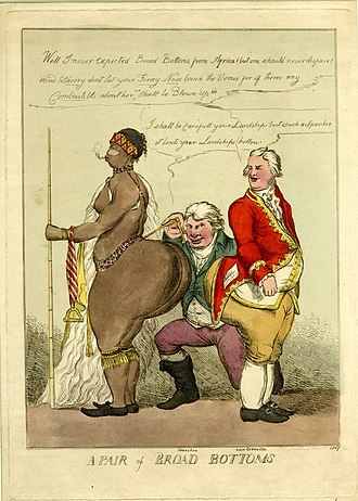 Sarah Baartman - 1810 caricature of Baartman by William Heath