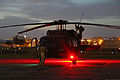 A U.S. Army UH-60 Black Hawk helicopter assigned to the Puerto Rico Army National Guard prepares to conduct night flight training at the aviation support facility in Isla Grande, Puerto Rico, Sept 140902-Z-KD550-815.jpg
