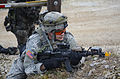 A U.S. Soldier with the 2nd Cavalry Regiment provides security during a mission rehearsal exercise (MRE) at the Grafenwoehr Training Area in Grafenwoehr, Germany, March 10, 2013 130310-A-GM460-005.jpg