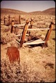 "A WOODEN TOMBSTONE AND CEMETERY IN BODIE STATE HISTORICAL PARK. BODIE IS ONE OF THE MOST WELL-PRESERVED ""GHOST TOWNS""... - NARA - 543122.tif"
