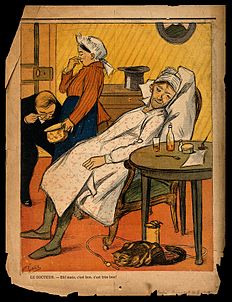 A doctor enthusiastically examines a patient's stools. Colou Wellcome V0011871.jpg