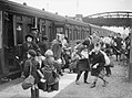 A group of children arrive at Brent station near Kingsbridge, Devon, after being evacuated from Bristol in 1940. D2592.jpg