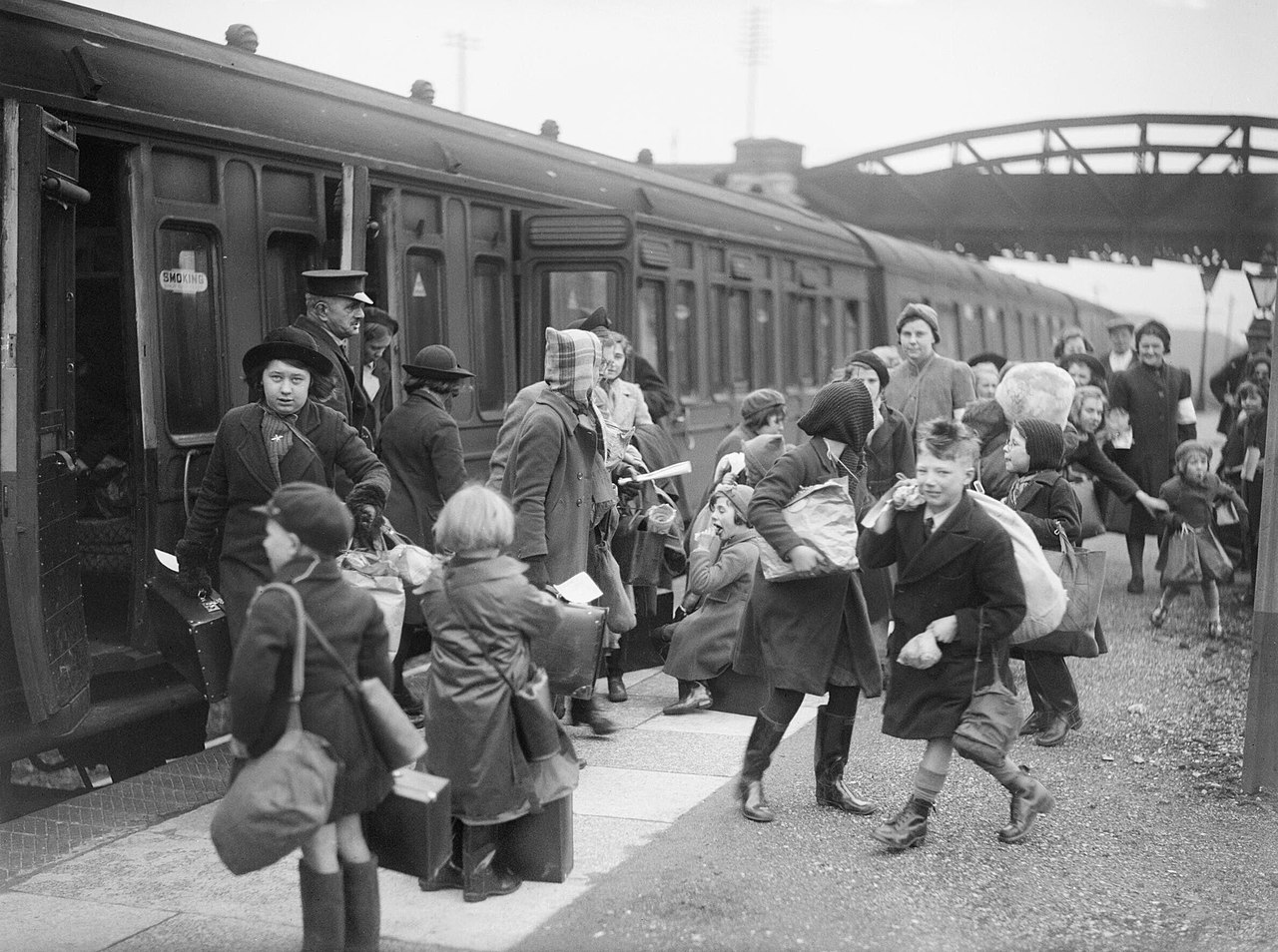 File:A group of children arrive at Brent station near ...