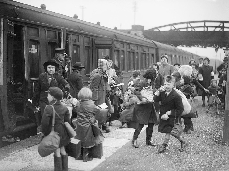 A group of children arrive at Brent station near Kingsbridge, Devon, after being evacuated from Bristol in 1940. D2592