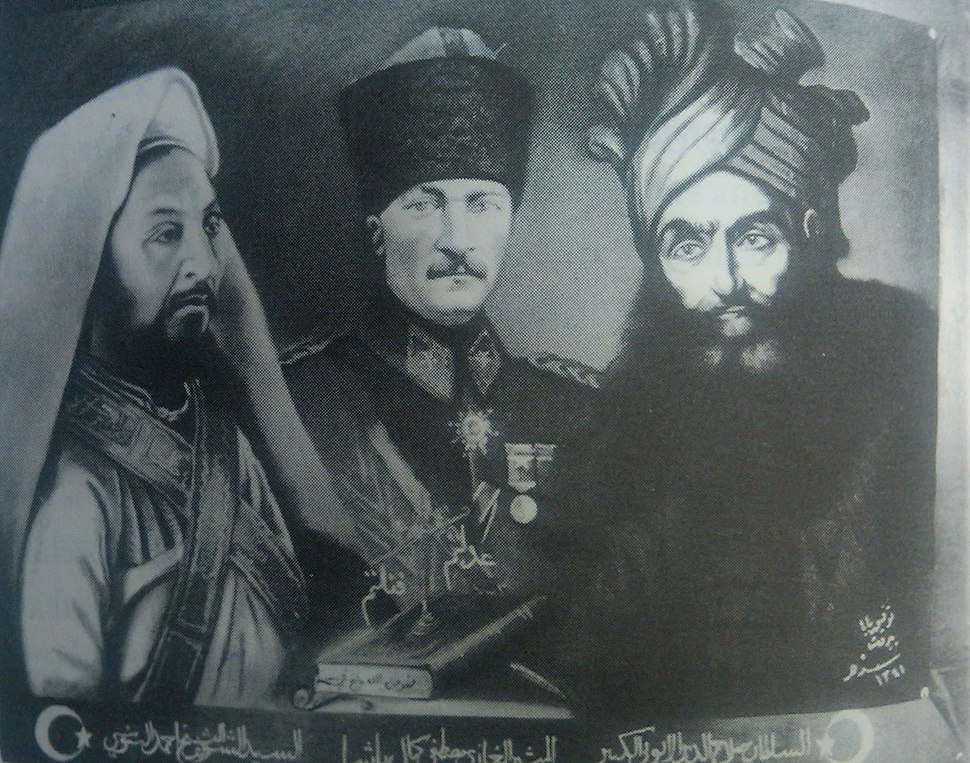 A postcard depicting Mustafa Kemal as a Muslim hero, with Ahmed Sharif as-Senussi (left) and Saladin (right)