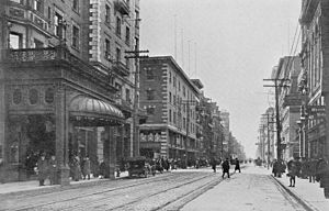 The Omni King Edward Hotel - King Street in 1908, with the King Edward Hotel on the left