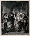 A wealthy hypochondriac having two physicians take his pulse Wellcome V0016115.jpg