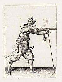 Aanwijzing 12 voor het hanteren van het musket - Schiet (Jacob de Gheyn, 1607)